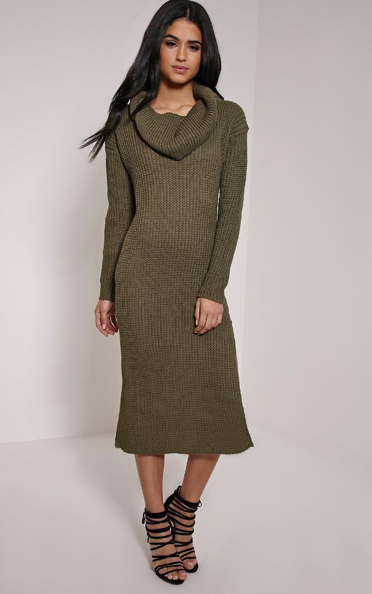 Braven Khaki Cable Knit Maxi Jumper Dress 3