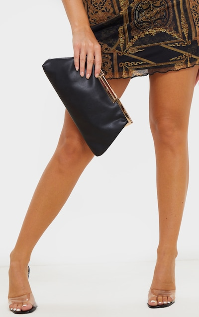Black Faux Leather Oversized Frame Clutch Bag