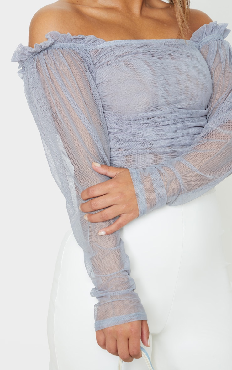 Petite Grey Long Sleeve Mesh Ruched Detail Crop Top 5