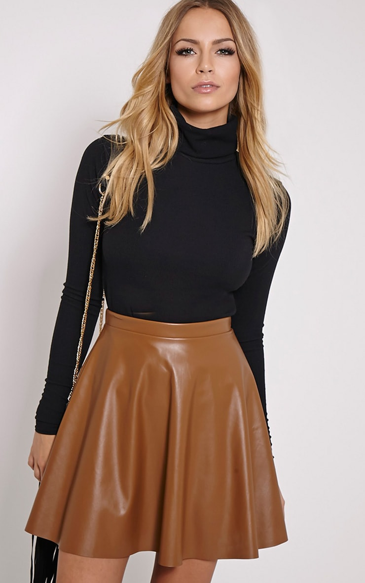 Emma Tan Faux Leather Skater Skirt 1
