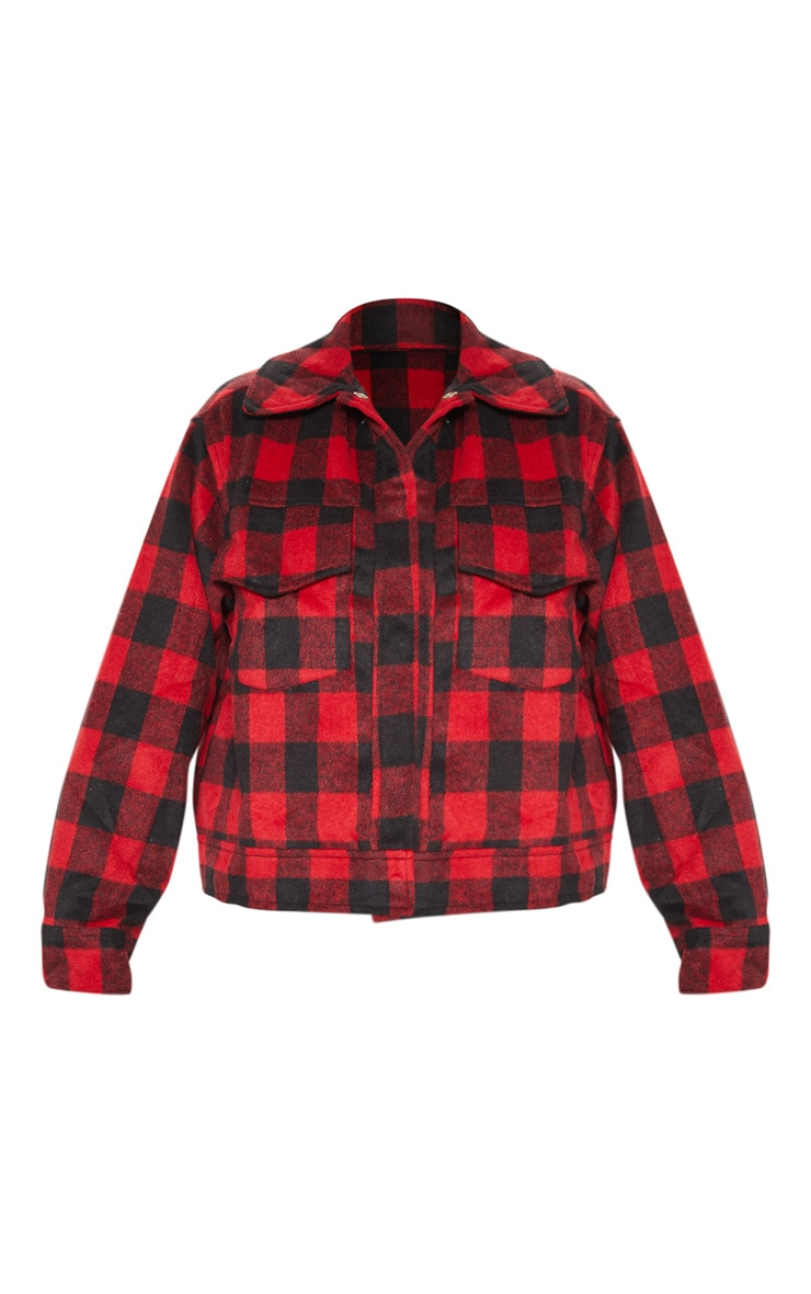 Red Check Print Trucker 3