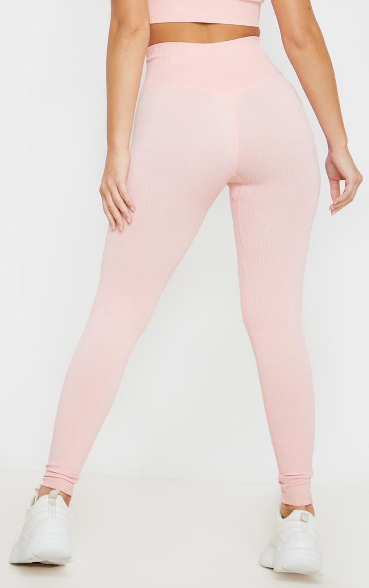 Peach Seamless Ribbed Sports Leggings 4