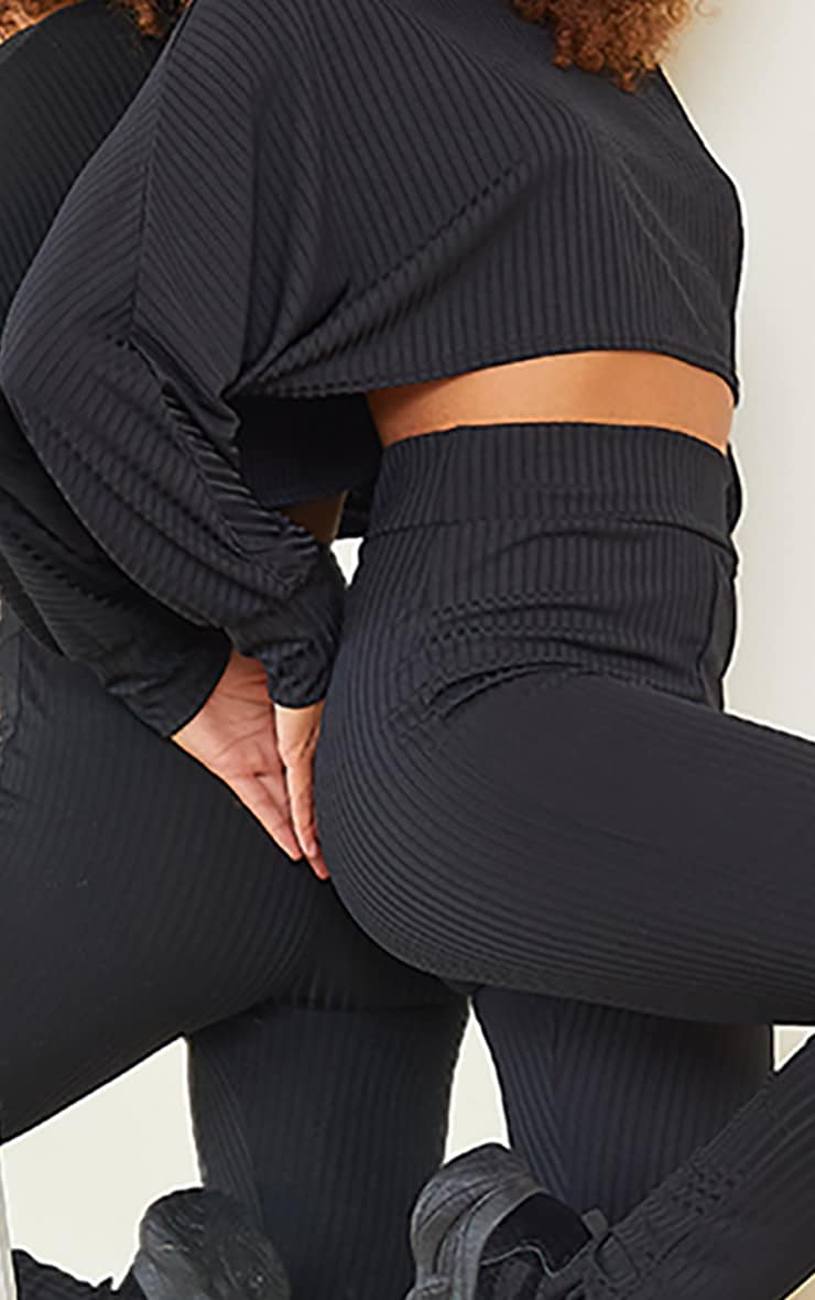 Ensemble crop top manches longues & legging côtelé noir 4