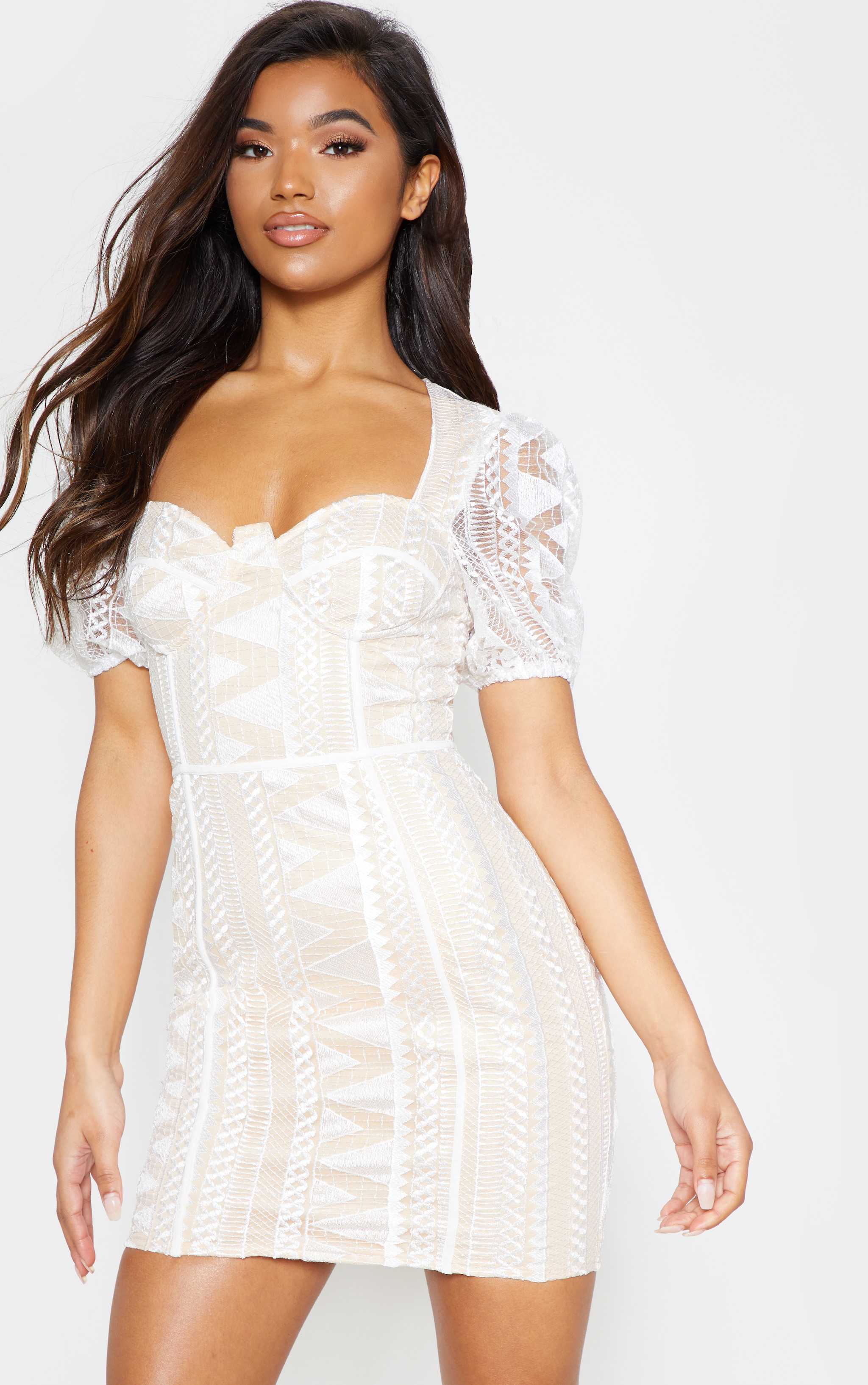 White Lace Puff Sleeve Bodycon Dress 1