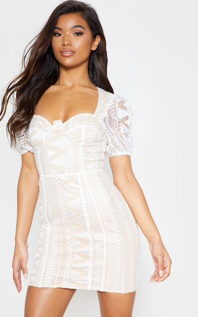 White Lace Puff Sleeve Bodycon Dress