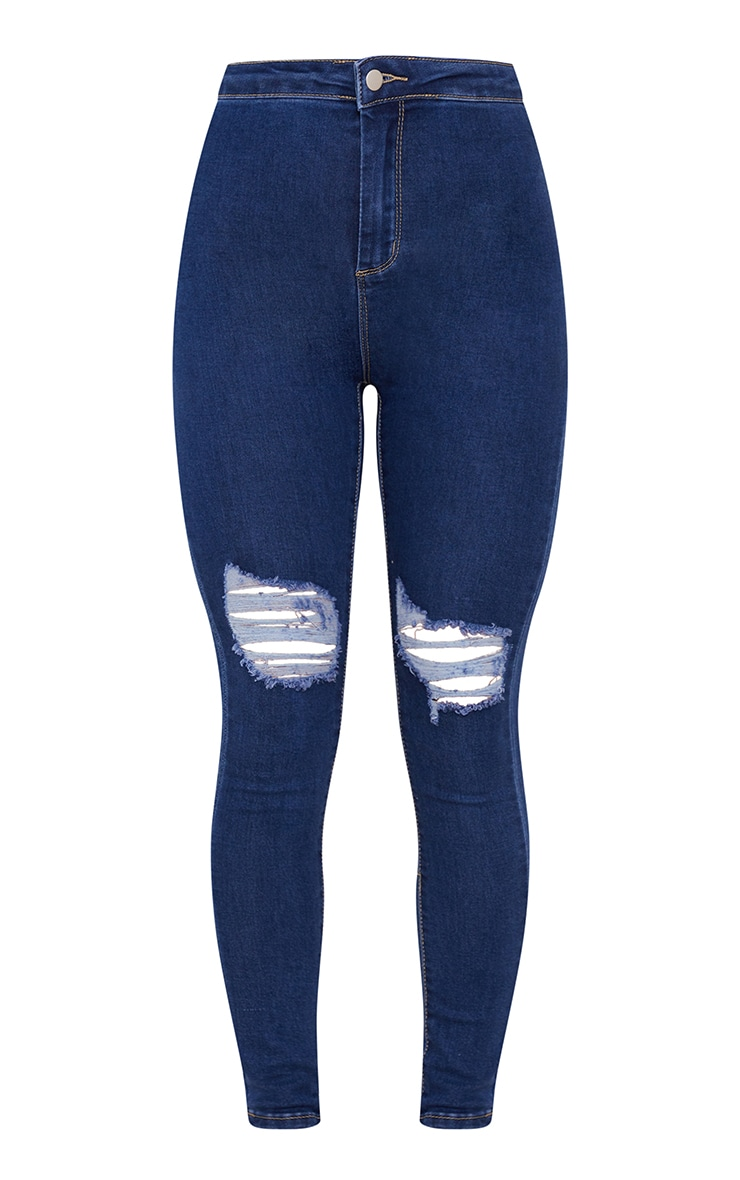 PRETTYLITTLETHING Mid Blue Knee Rip Disco Skinny Jean 5