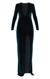20da43266423 Emerald Green Velvet Plunge Maxi Dress | PrettyLittleThing