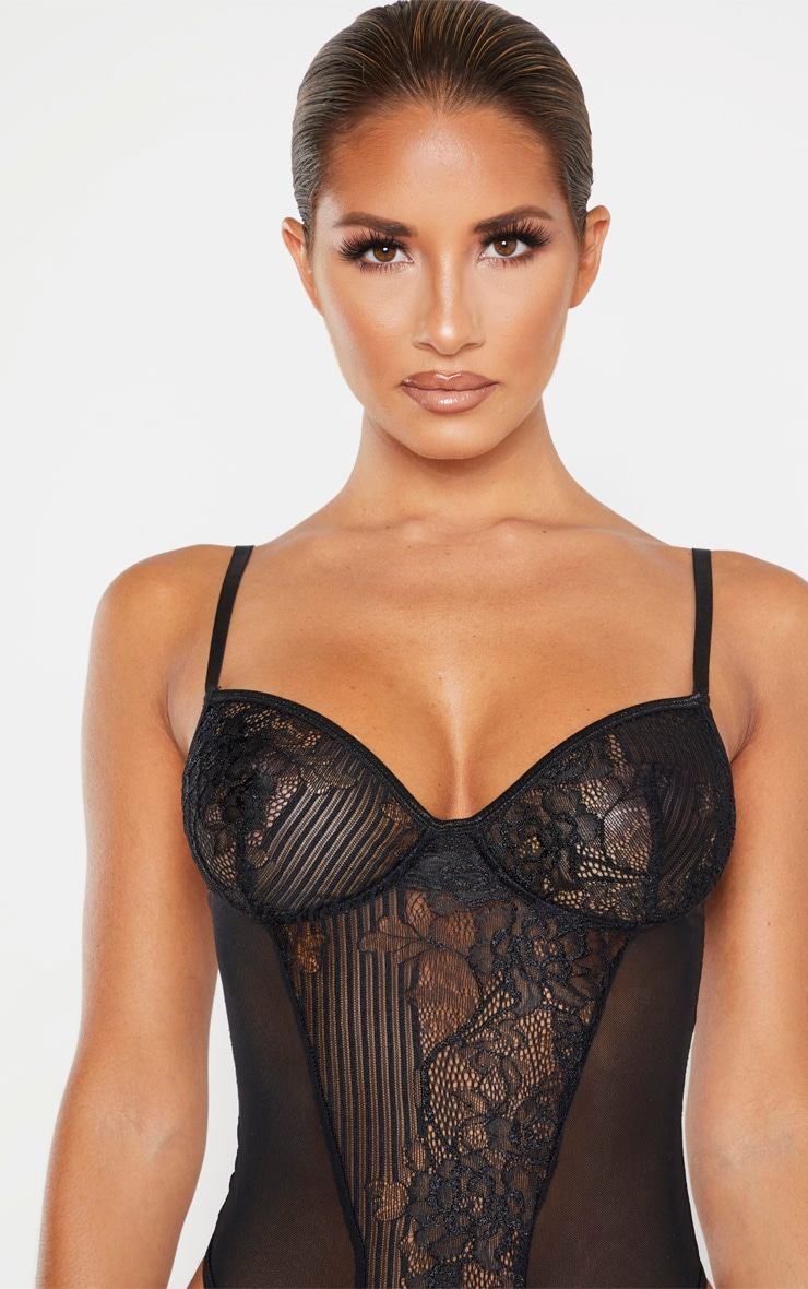Black Stripe Lace And Mesh Side Body 5