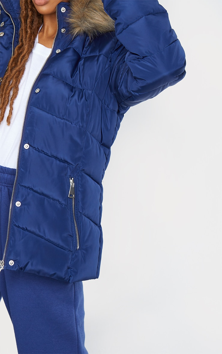 Blue Quilted Mara Faux Fur Hooded Puffer Jacket 4