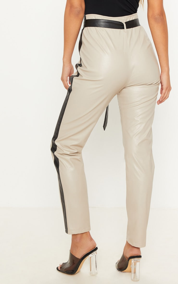 Taupe Faux Leather Side Stripe Trousers 4