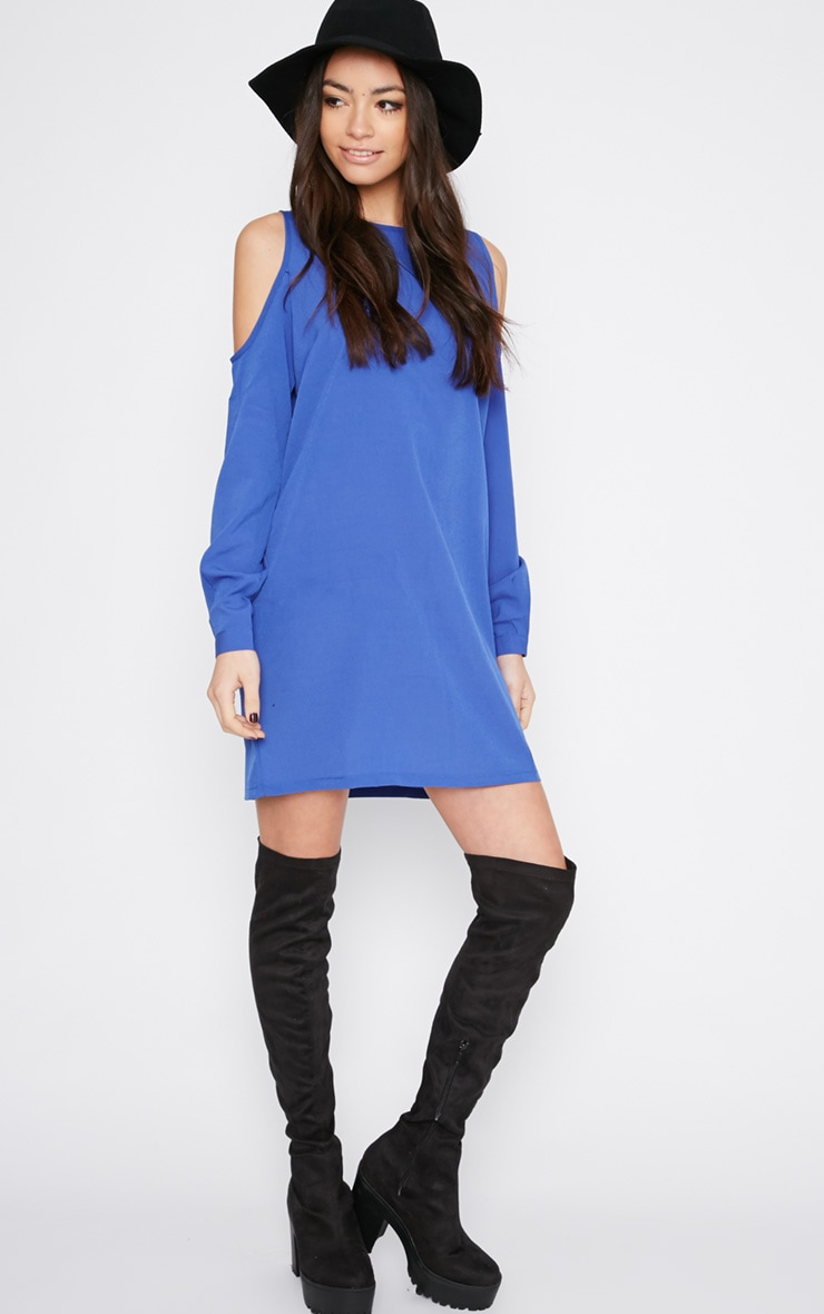 Genny Cobalt Cut Out Shoulder Dress 3