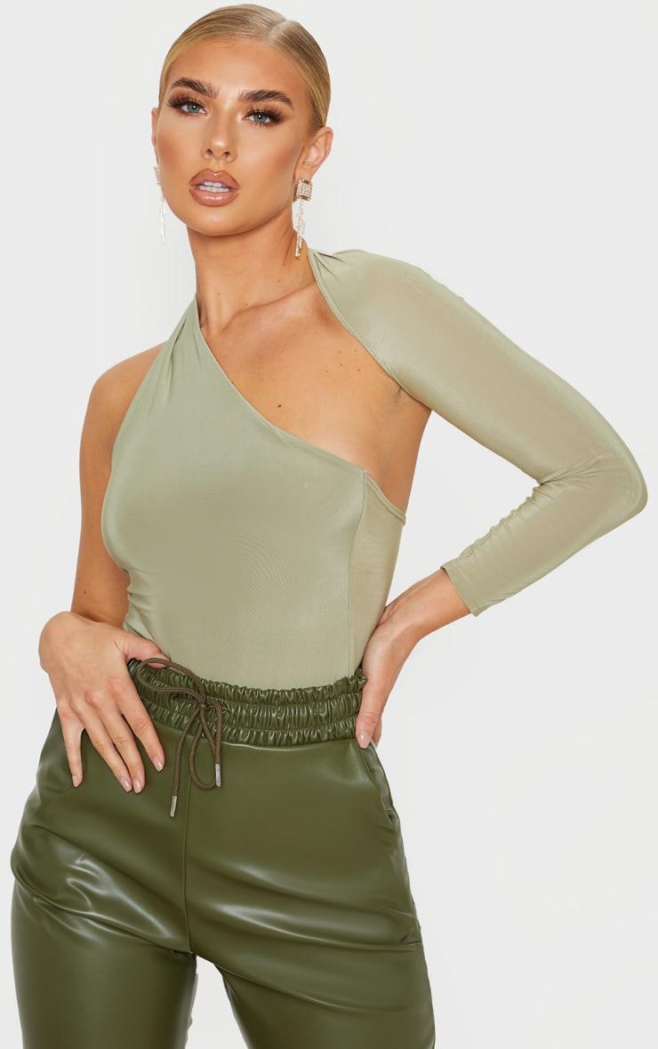 Sage One Shoulder Asymmetric Bodysuit 1