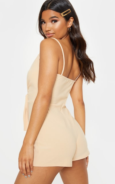 Stone Knot Detail Plunge Strappy Playsuit