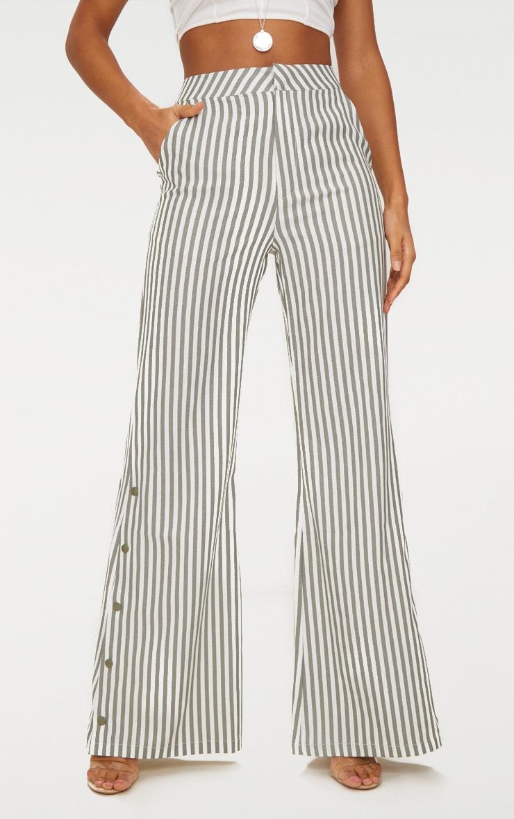 Khaki Humbug Stripe Popper Flared Trousers 2