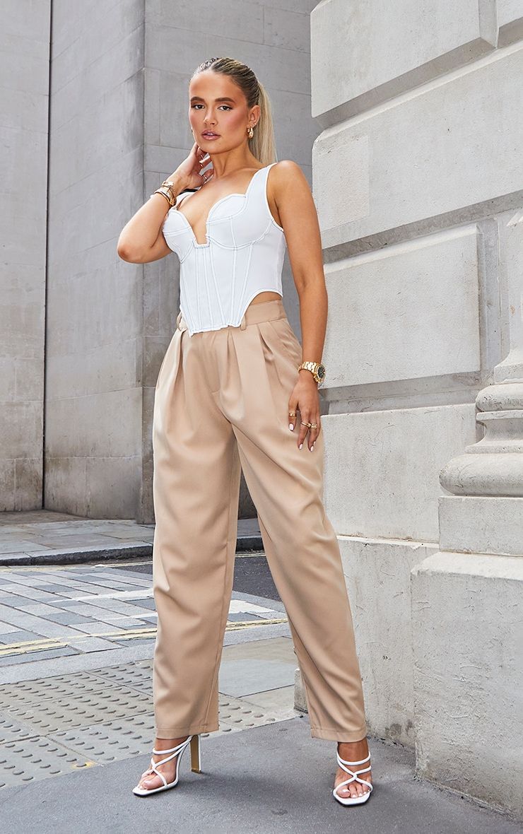 Camel Woven High Waisted Cigarette Trousers