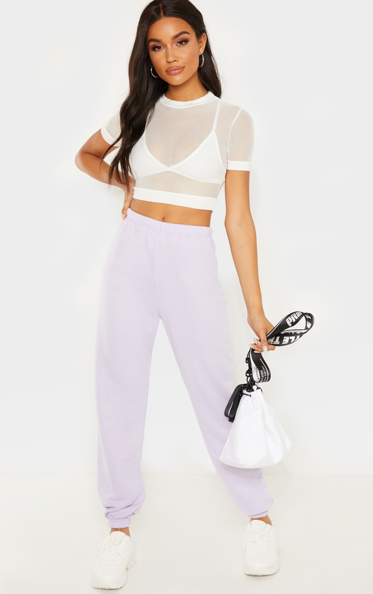 Lilac Basic Cuffed Hem Track Pants 1