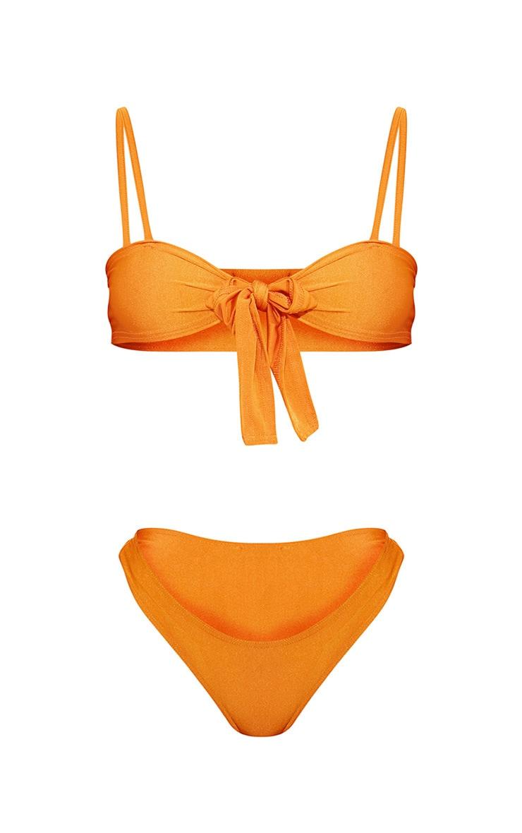 Orange Tie Front Bikini Set 3