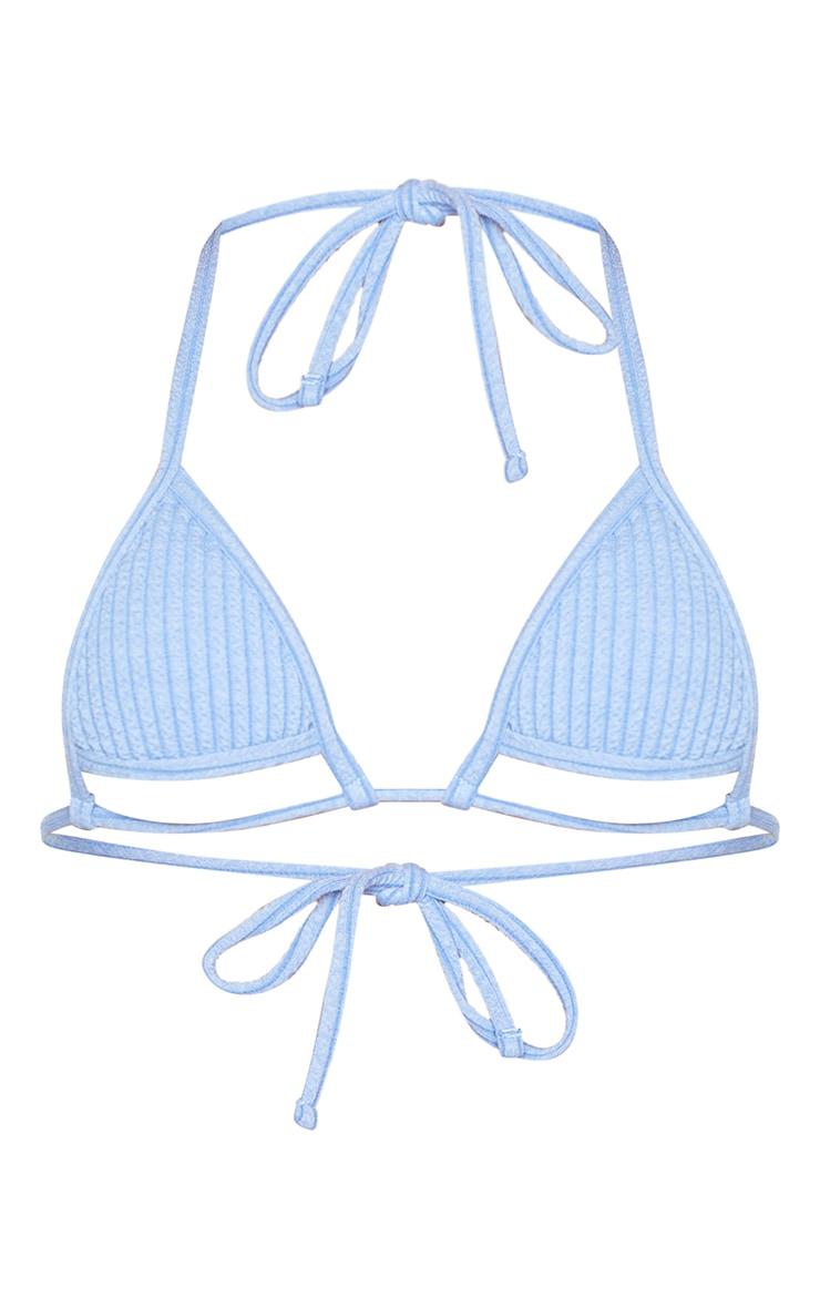 Blue Ribbed Cut Out Triangle Bikini Top 5
