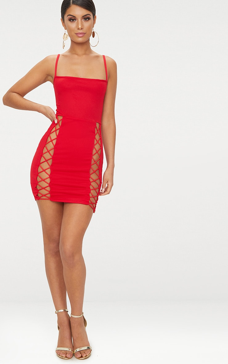 Red Strappy Square Neck Lace Up Thigh Bodycon Dress 4