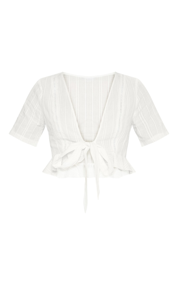 White Broderie Anglaise Tie Front Frill Hem Blouse 3