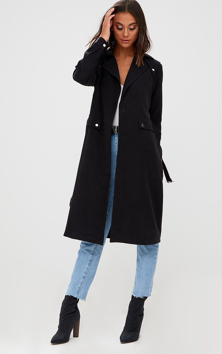 Black Longline Belted Trench Coat 4