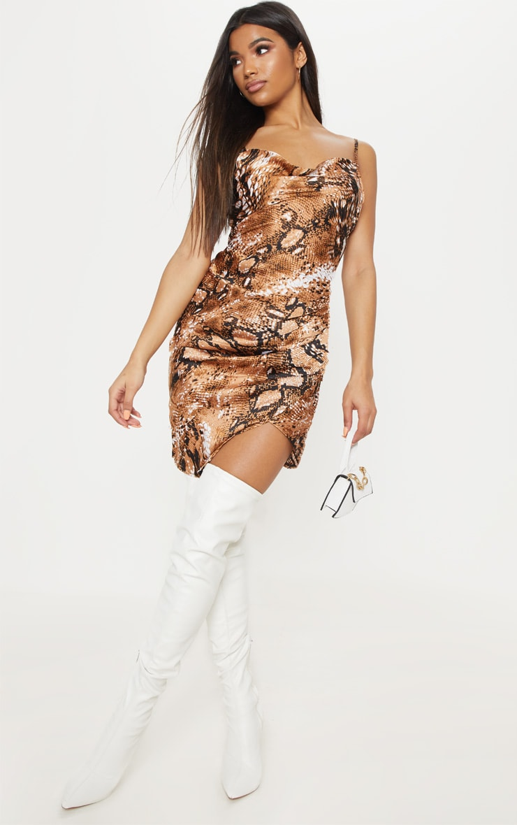 Tan Satin Snake Cowl Ruched Bodycon Dress 4