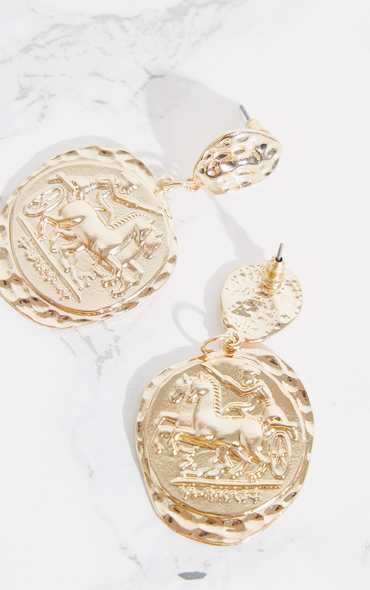 Gold Egyptian Hammered Coin Earrings 4