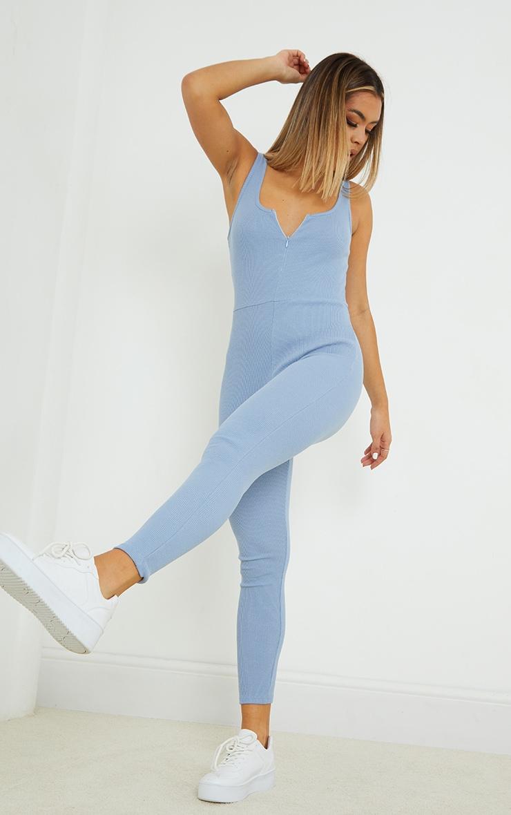 Blue Steel Ribbed Zip Front Jumpsuit 3