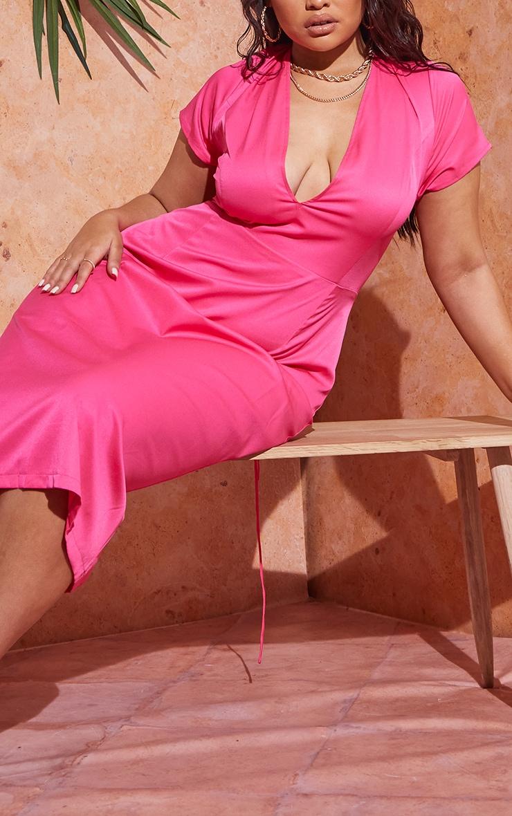 Plus Hot Pink Lace Up Back Satin Midi Dress 4