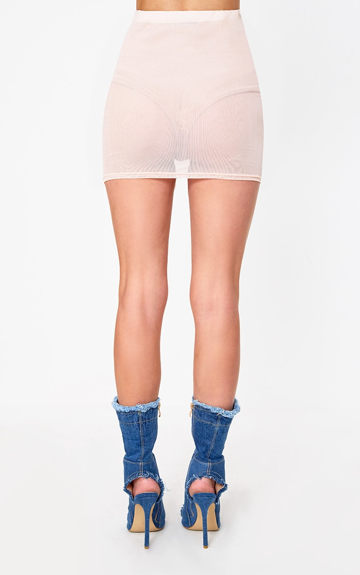Nude Side Ruche Mesh Mini Skirt 4