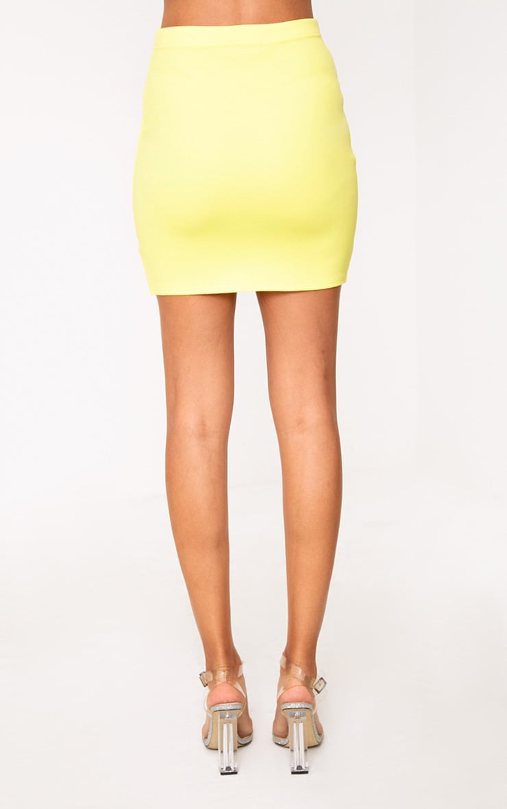 Yellow Side Split Mini Skirt  4