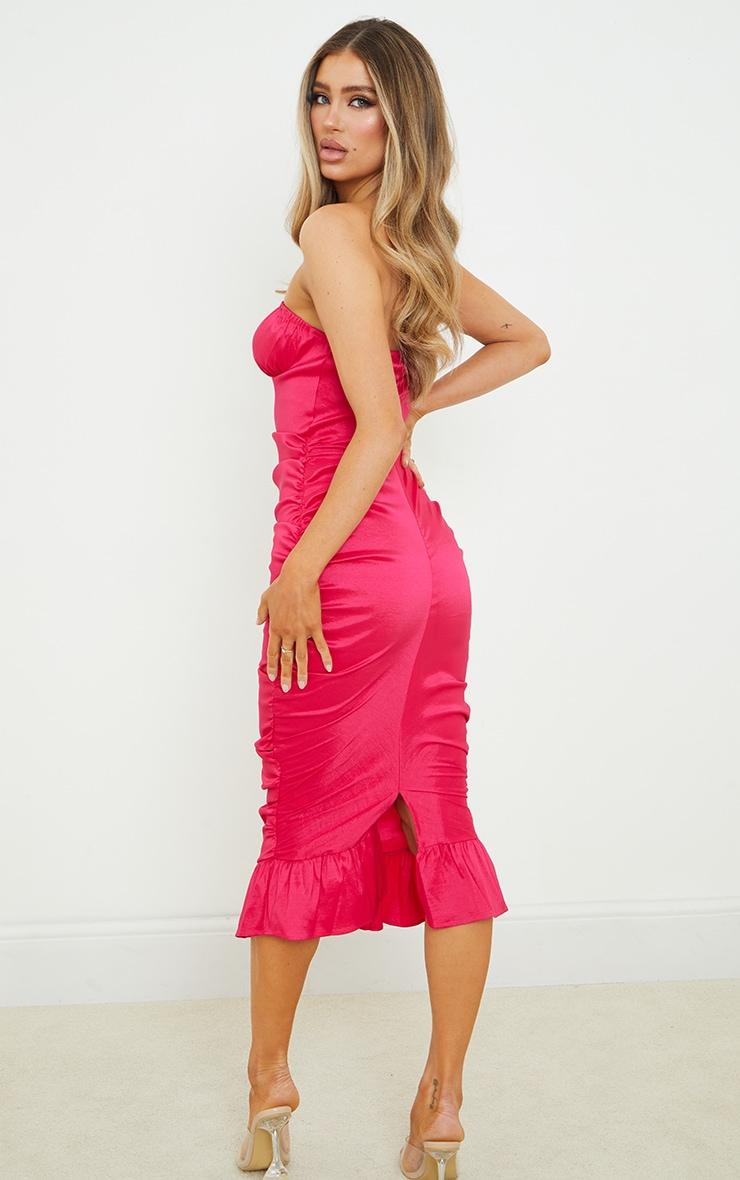 Hot Pink Taffeta Bust Seam Ruched Bandeau Midi Dress 2