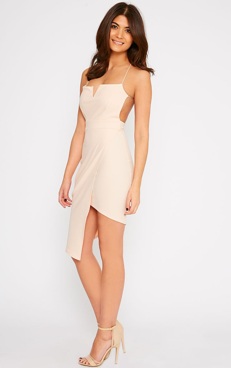 Raye Nude Cross Back Asymmetric Dress 1