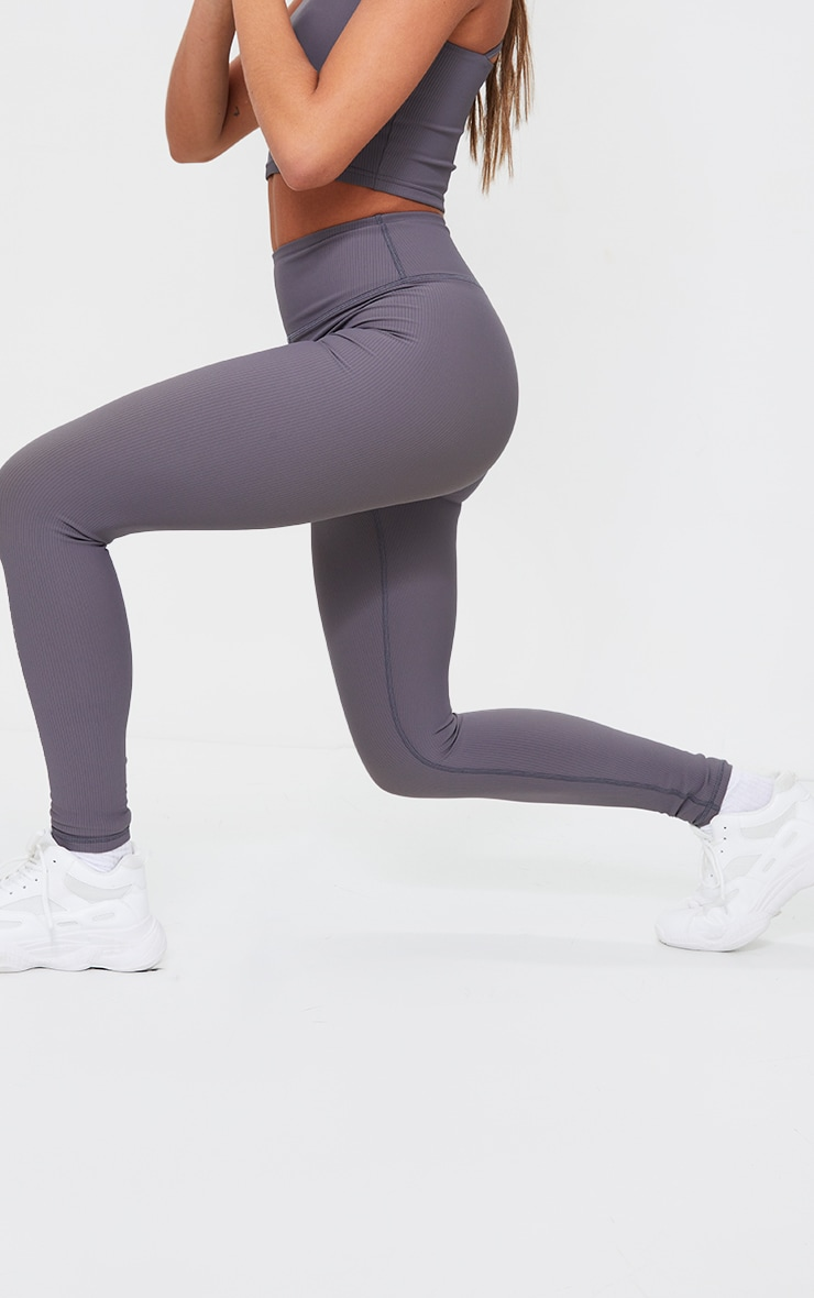 Charcoal Sculpt Ribbed Textured Gym Leggings 2