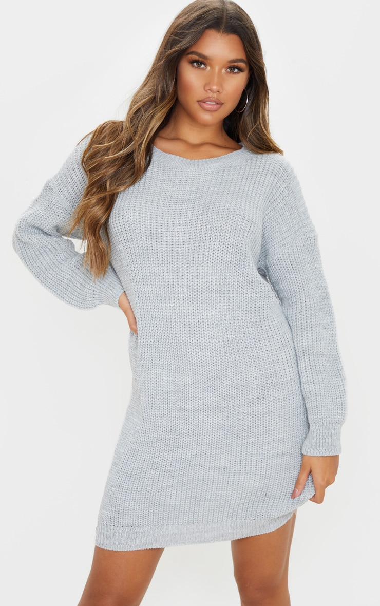 Robe pull basique grise 1