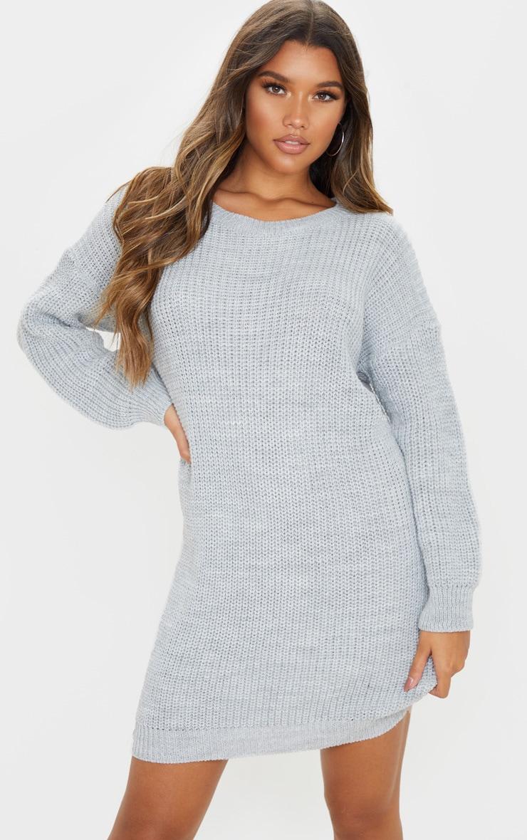 Grey Basic Knit Sweater Dress 1