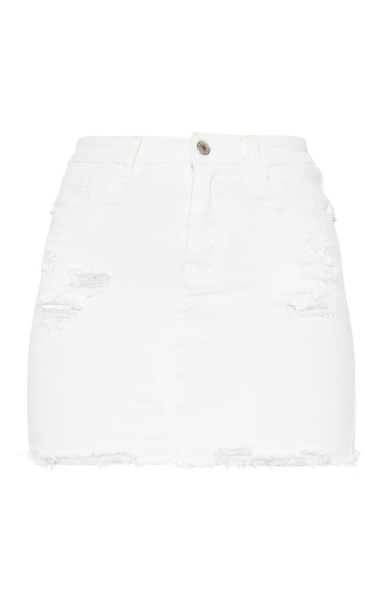 White Distressed Denim Stretch Skirt 3