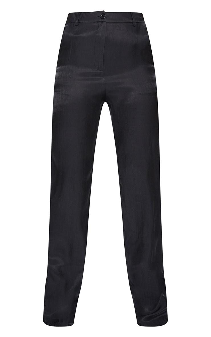 Black Shimmer Satin Straight Leg Pants 5
