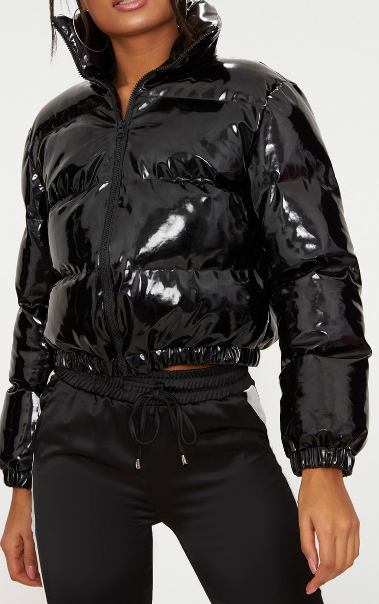 Black Cropped Vinyl Puffer Jacket 5