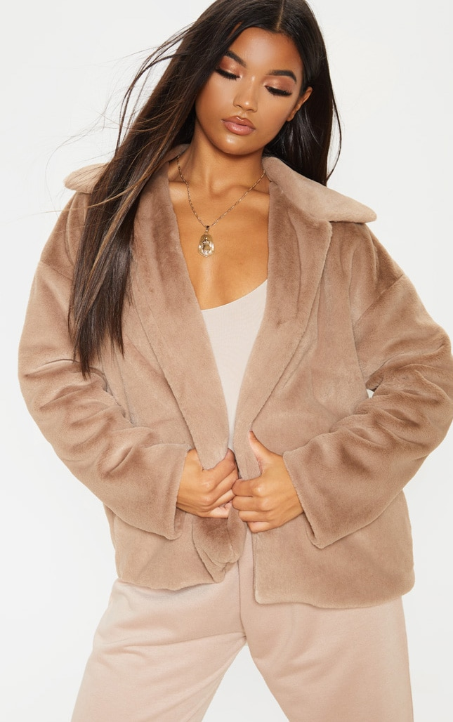 Taupe Oversized Faux Fur Jacket 4