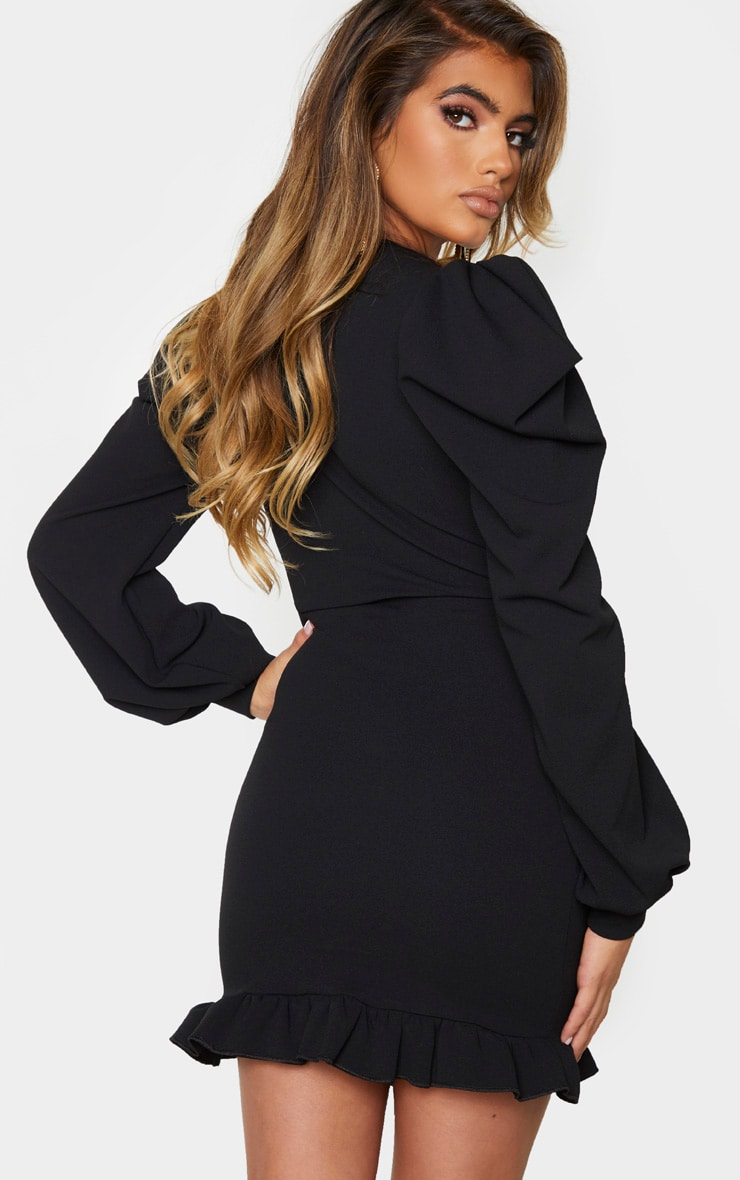 Black Puff Sleeve Wrap Detail Cut Out Bodycon Dress 2