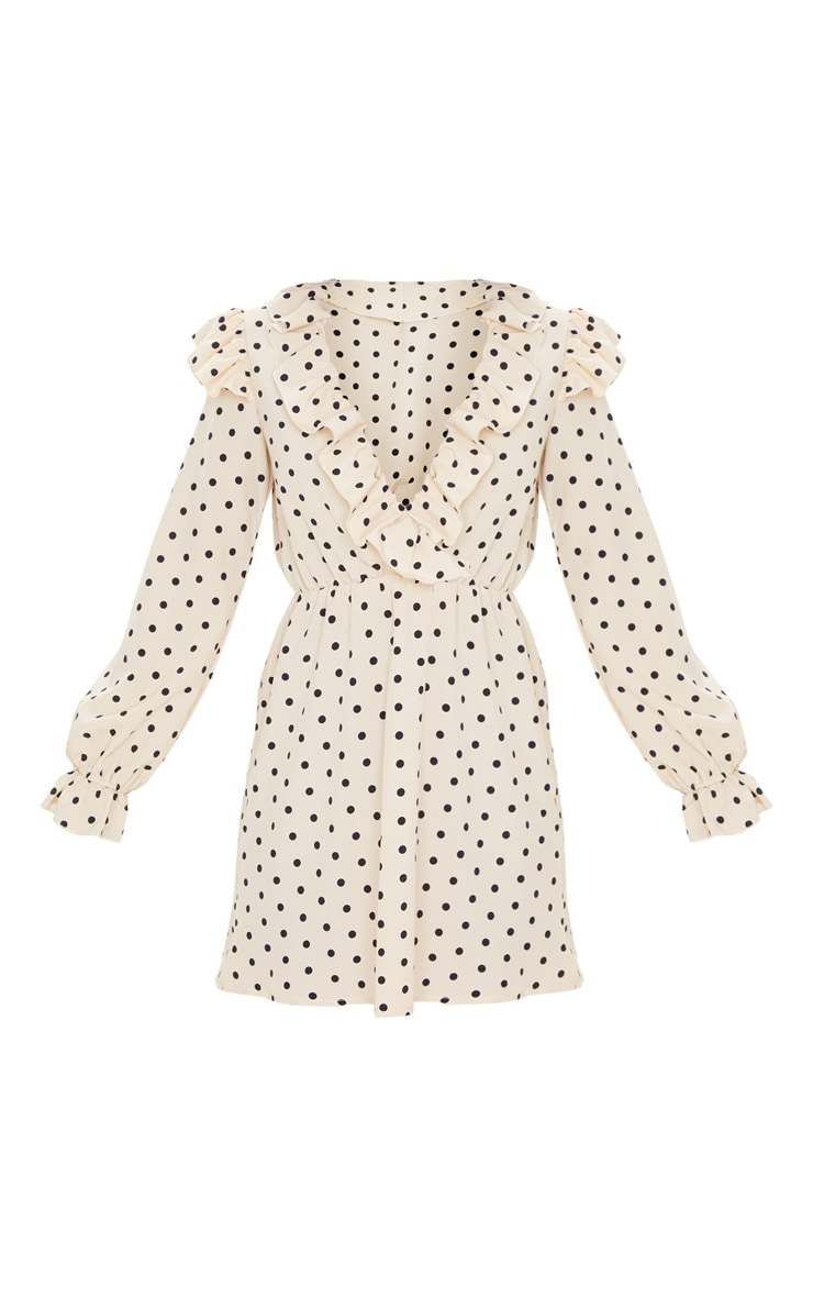 Cream Polka Dot Print Frill Detail V Neck Shift Dress 3