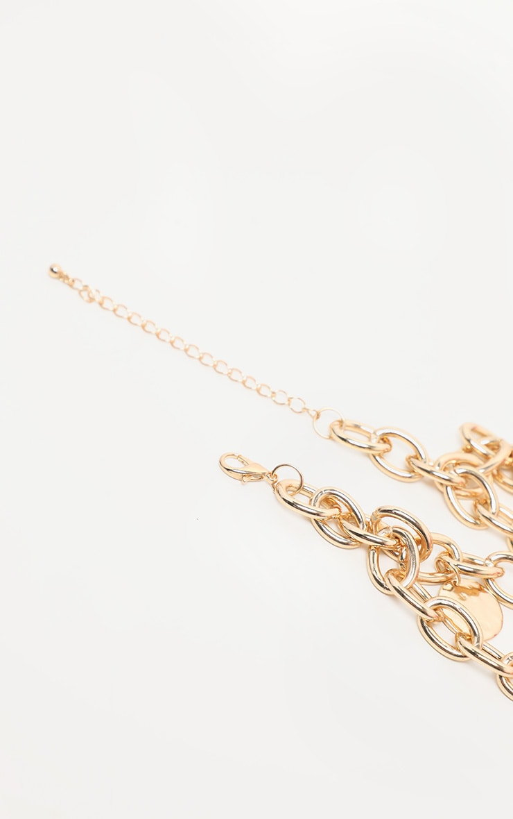 Gold Chain And Disc Lariat Necklace 4