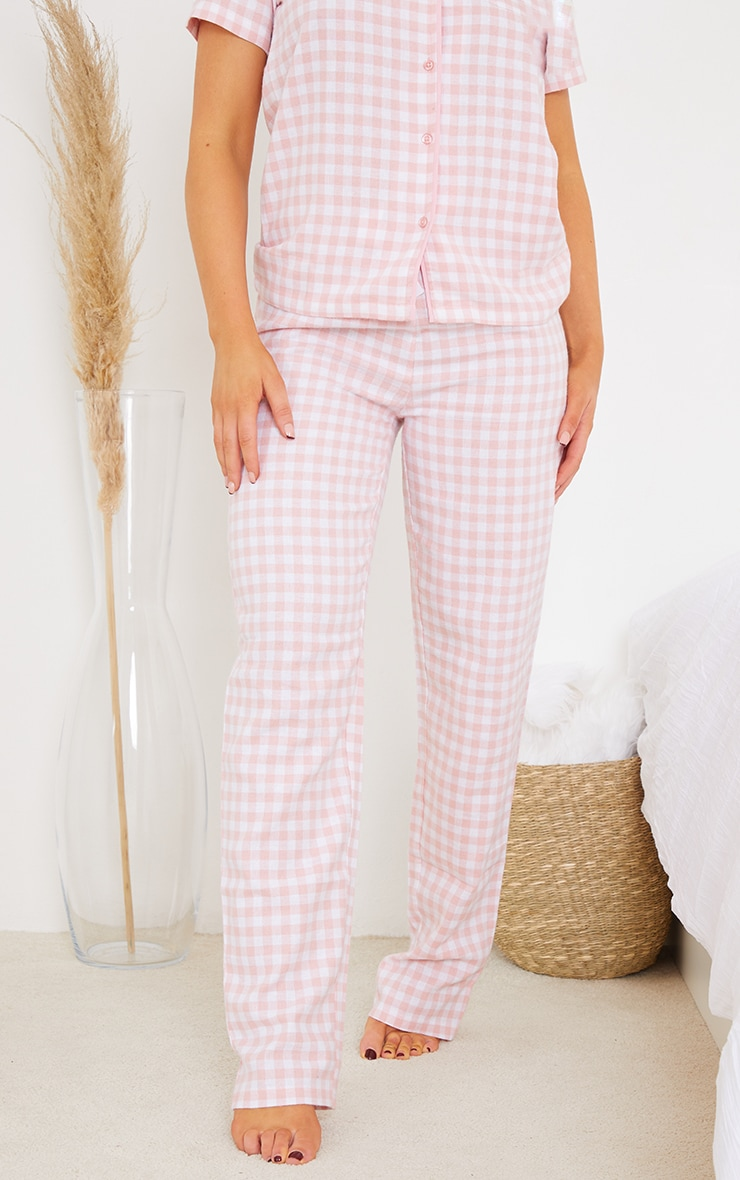 Pale Pink Mix And Match Tie Waist Check PJ Trousers 2