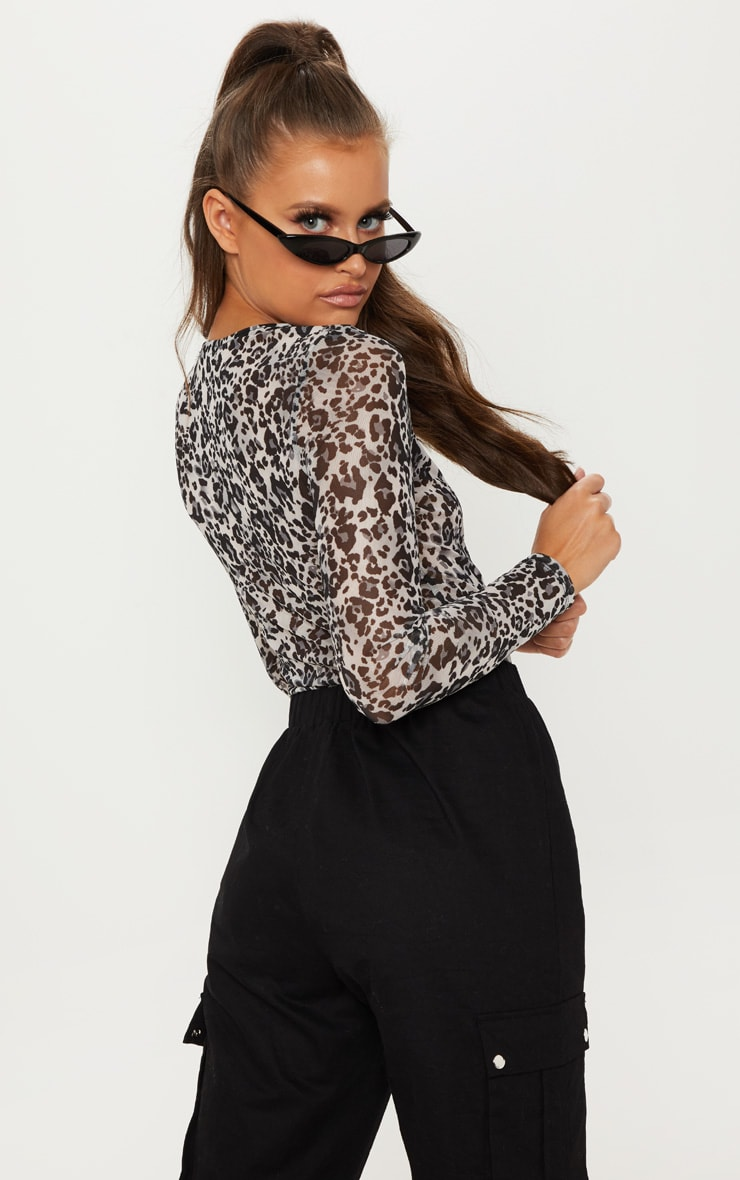 Grey Mesh Leopard Print Long Sleeve Top 2