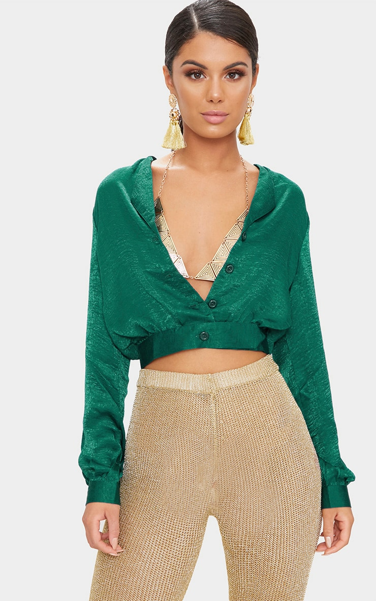 green Satin Button Front Crop Shirt  1