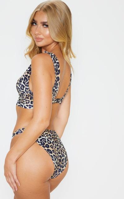 Leopard V Wire Plunge Bikini Top