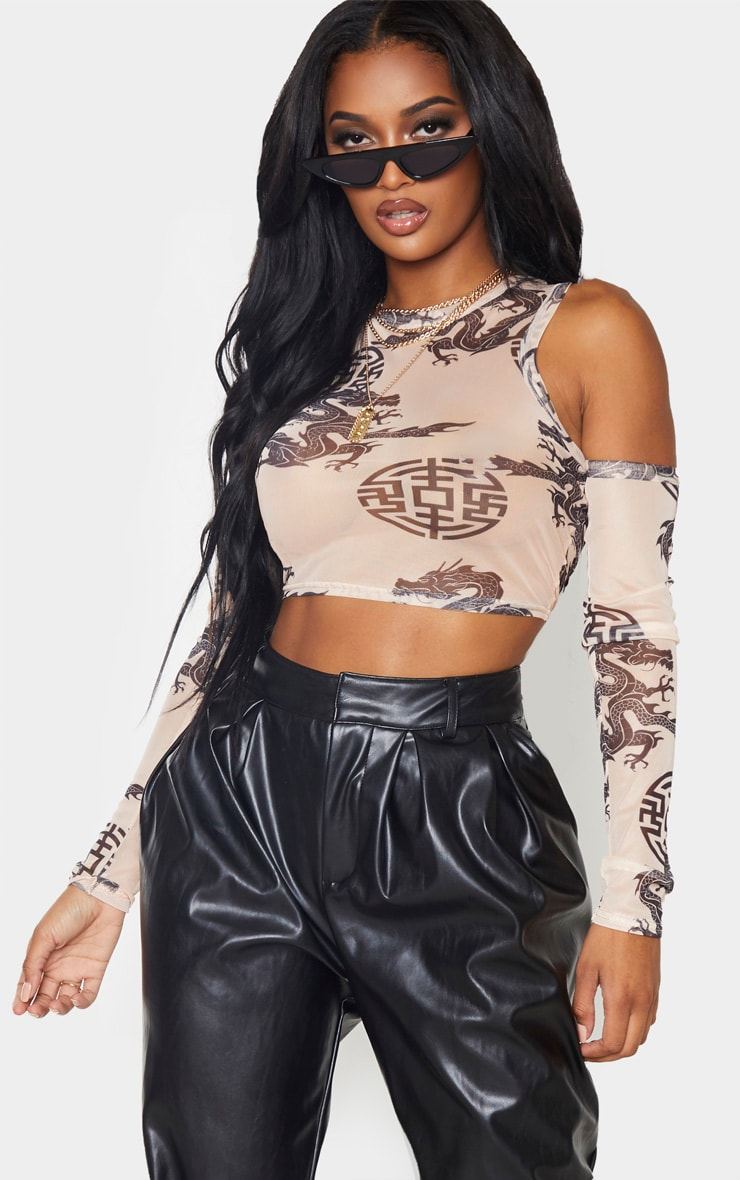 Shape Nude Oriental Print Ruched Sleeve Cold Shoulder Crop Top 1
