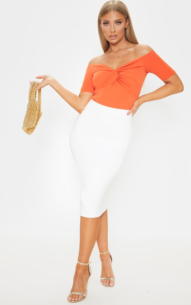 Orange Bardot Twist Front Bodysuit  5