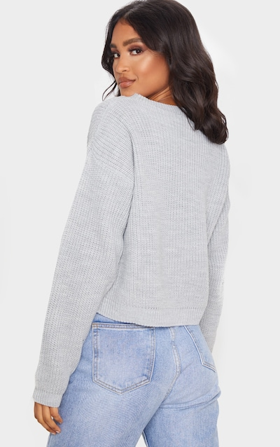 Grey Pointelle Detail Knitted Jumper